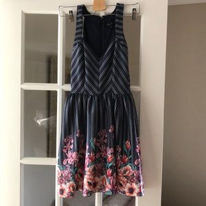 Blue and Pink Striped Flowery Dress Trixxi Size 3